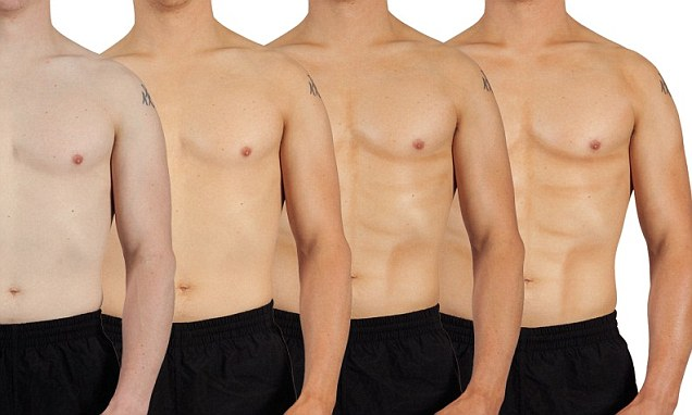 Men have been using fake tan to create abs