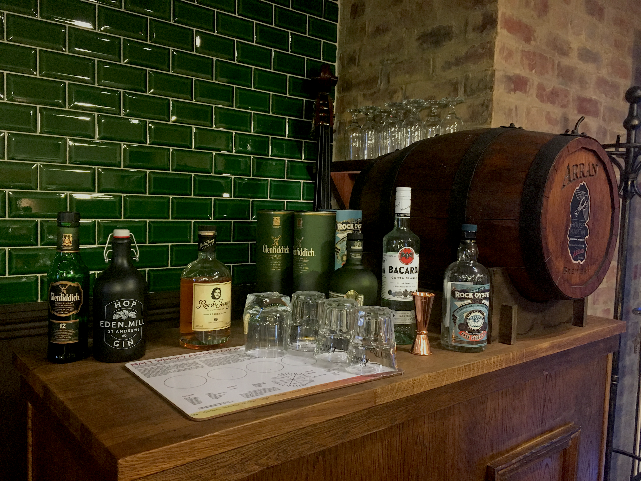The whiskey and gin section of the shop