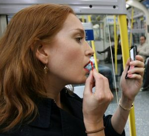 do you apply make up on the train?